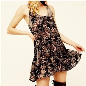 Free People Ellie Burnout Velvet Mini Dress Pink M